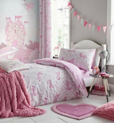 Catherine Lansfield Folk Unicorn Pink Bedding Set